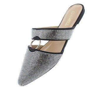 NEW Black Pointed Toe Ring Strap Sparkle Mules